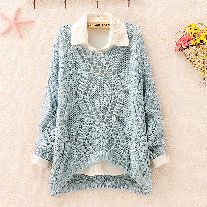 Over Size Knit Sweater For Women Blue on Luulla
